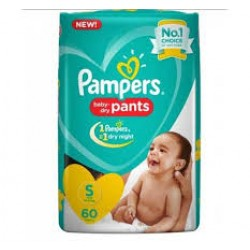 PAMPERS BABY PANTS S-60 PCS